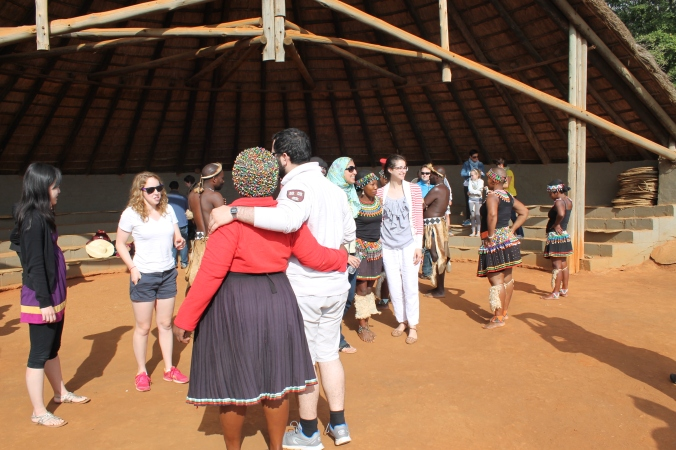 Tourists meeting Zulu performers, South Africa